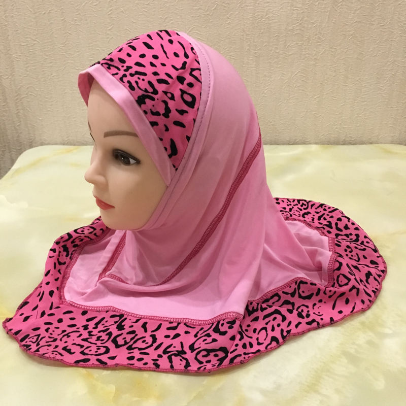 beautiful two parts combined muslim small girl hijab leopard print scarf hijab hats XDH083