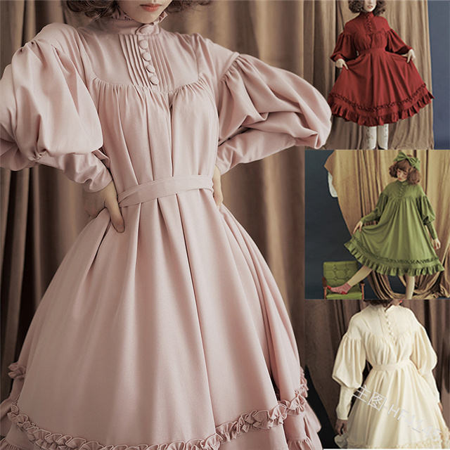 Temperament solid color high collar fashion retro bubble long sleeves wide hem dress