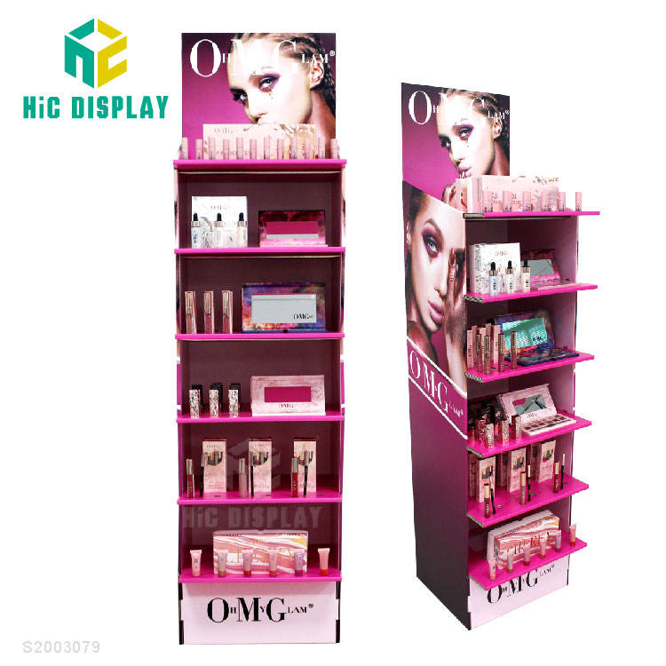 HIC Display Stand Factory,Recyclable Cardboard Floor Shelf Rotating Counter Display,Pallet Display