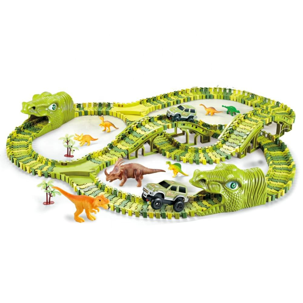 DIY Rail Way Car Track Toy Racing Educational Toys Electric Dinosaur Race Track for Kids Boys Children