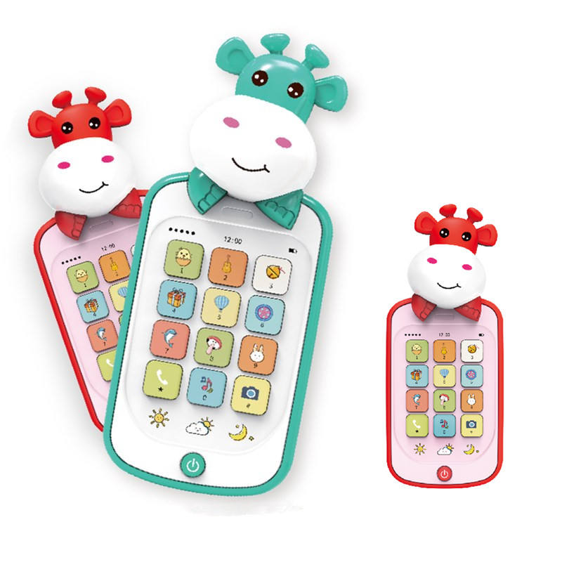 Educational Cow Cell Mobile Phone Battery Operated Plastic Toy For Baby