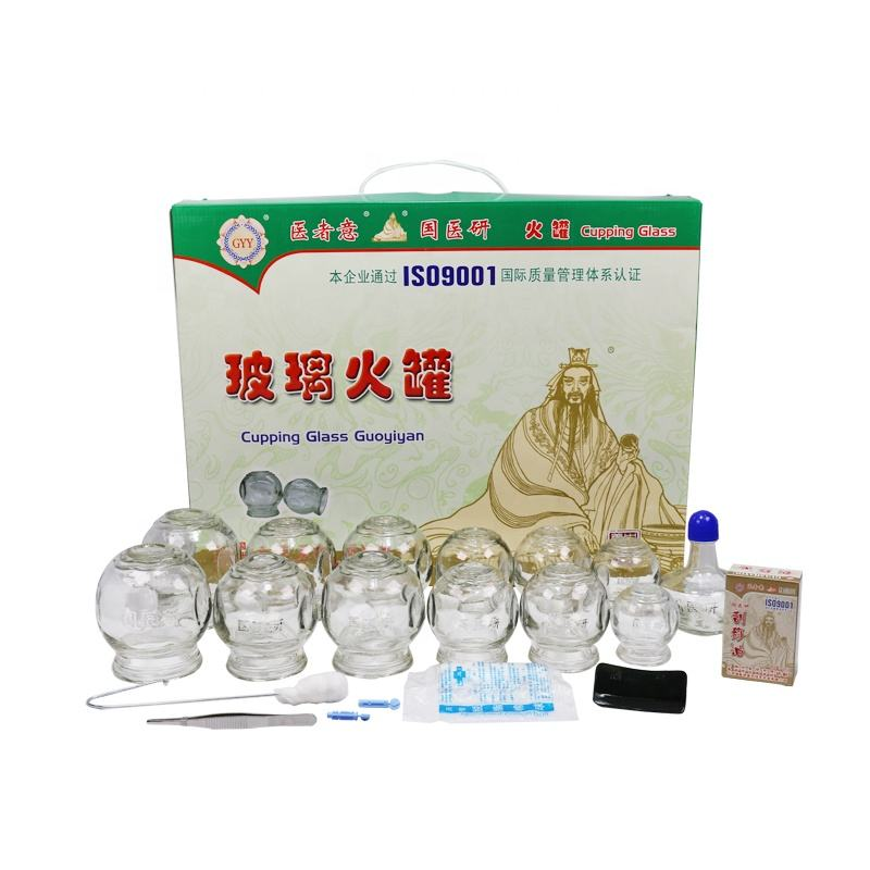 Chinese traditional medicine 12 different size fire glass cupping set with hijama vacuum cupping glass