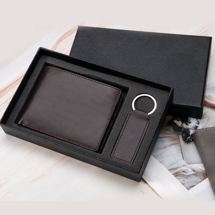 wholesale christmas genuine leather mens wallet gift sets promotion corporate business gift set