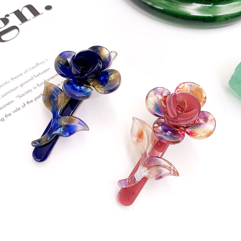 famous designer resin acetate rose flower hair pins vendor wholesale fancy french hair pins clips accessory hairpins for girls