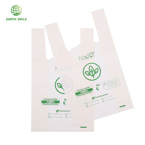 Customized Logo Compostable Biodegradable Plastic T- Shirt Shopping Grocery Bag