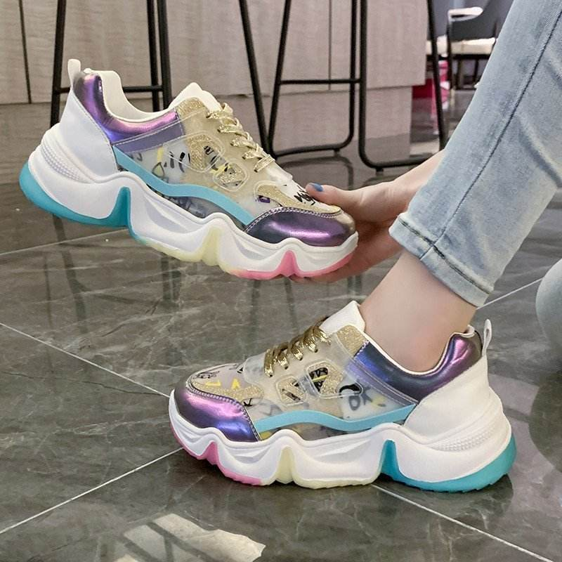 Women Sneakers Breathable Outdoor Walking Shoes Woman Mesh Casual Shoes Pink Lace-Up Ladies Shoes 2020 Women's Fashion Sneakers