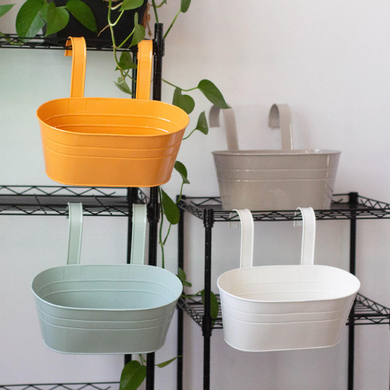 garden Removable hook flower pot double hook oval metal bucket hanging flower pots