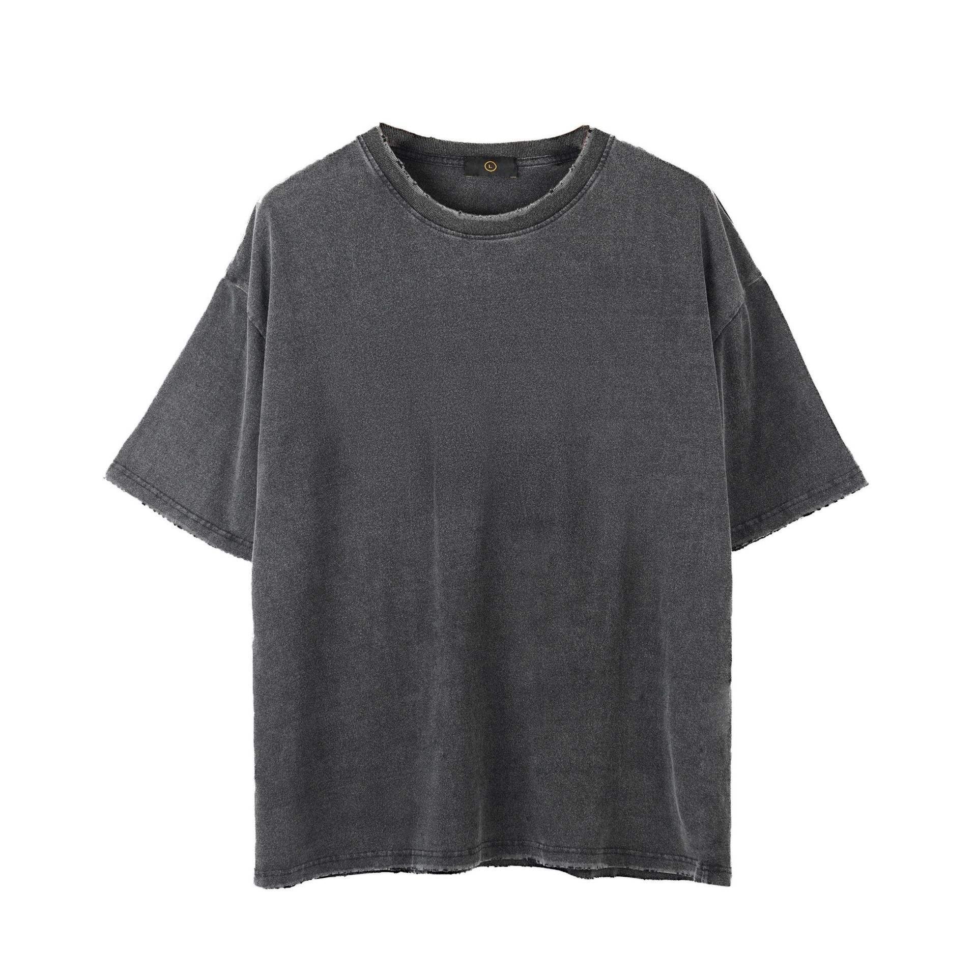 2020 new Design oversize Tee Black T Shirt Hip Hop vintage washed tshirts mens custom logo blank T-shirt