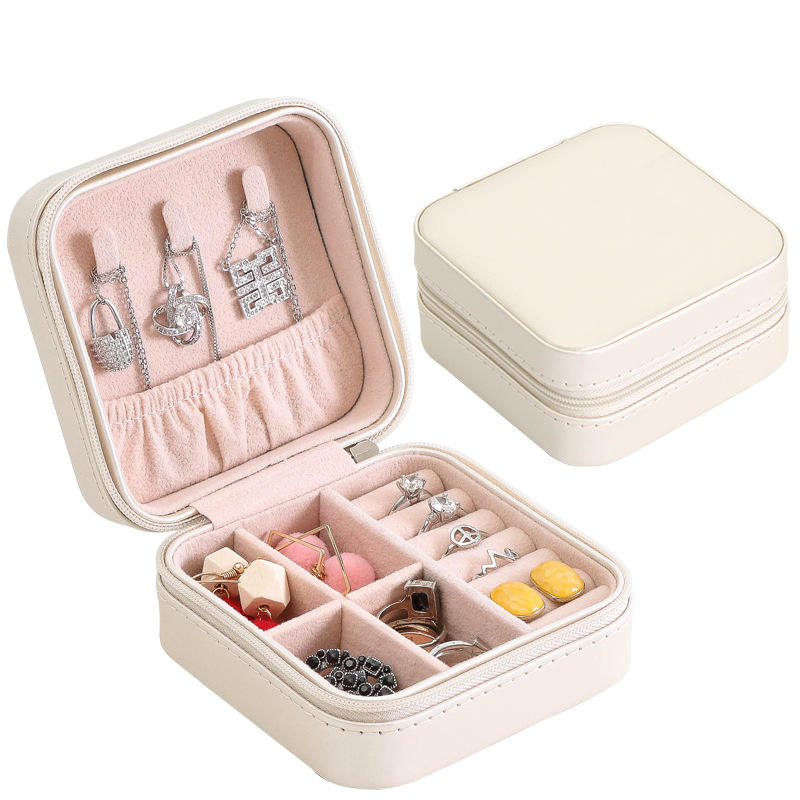 Small Travel Jewelry Box for Lady Organizer Display Storage Case for Rings Earrings Necklace