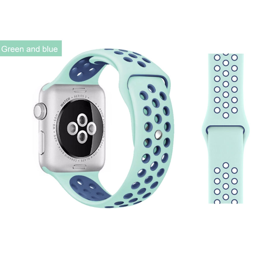 Dual Color Silicone Watchband Rubber Watch Band For iWatch For Nike+ silicon straps