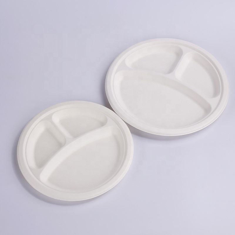 Biodegradable Sugarcane 9 inch 3 compartment Plate Bagasse pulp plate