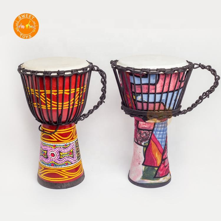 8.5-Inch Children Percussion Musical Music Instrument Toys, Rope Fabric Imitation Sheepskin Djembe Drum