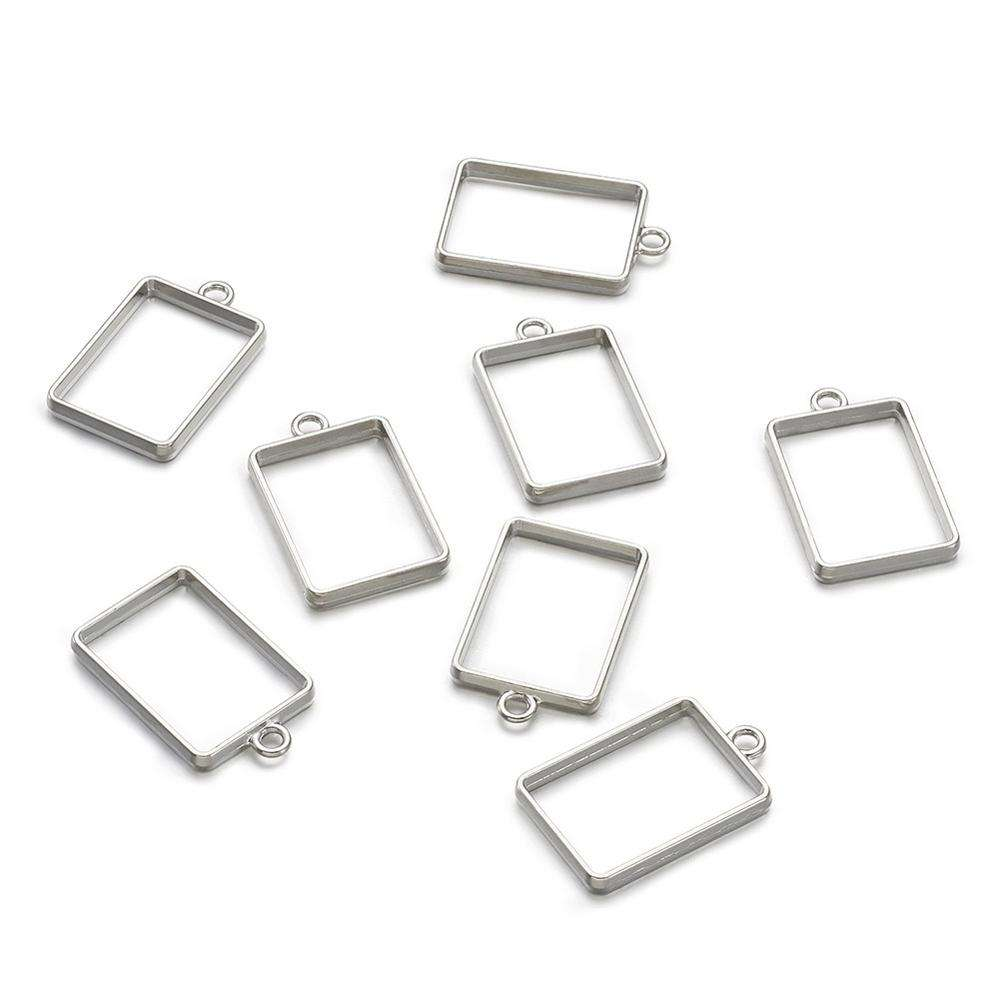 PandaHall Rack Plating Alloy DIY Jewelry Rectangle Open Back Bezel for Resin Pendants