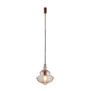 European Modern Home Hotel Edison Hanging Light Single Clear Ribbed Glass Lampshade Mini Pendant Light