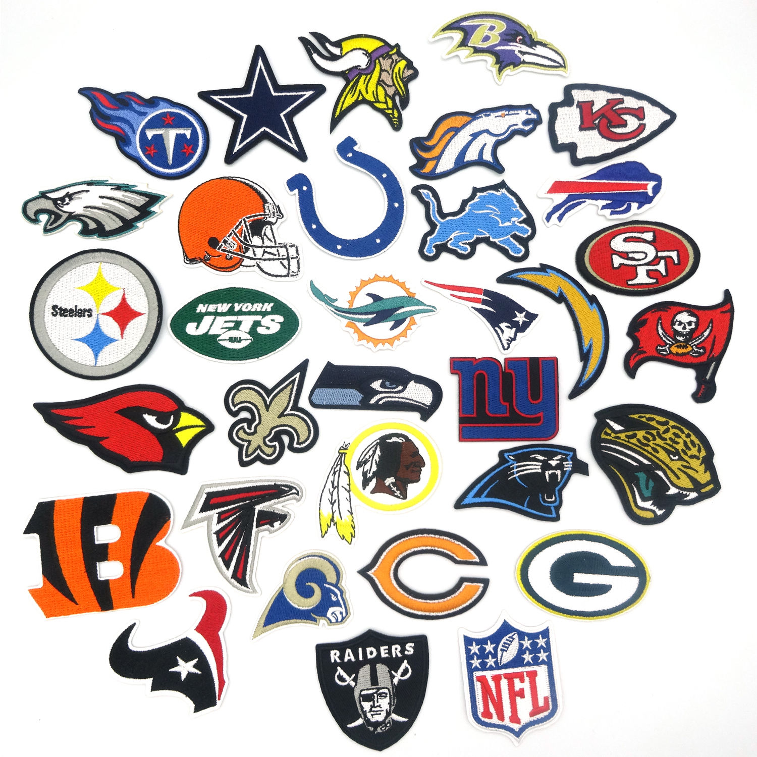 American Football nfl Sports Embroidered Team Logo Patch with Iron-on Backing