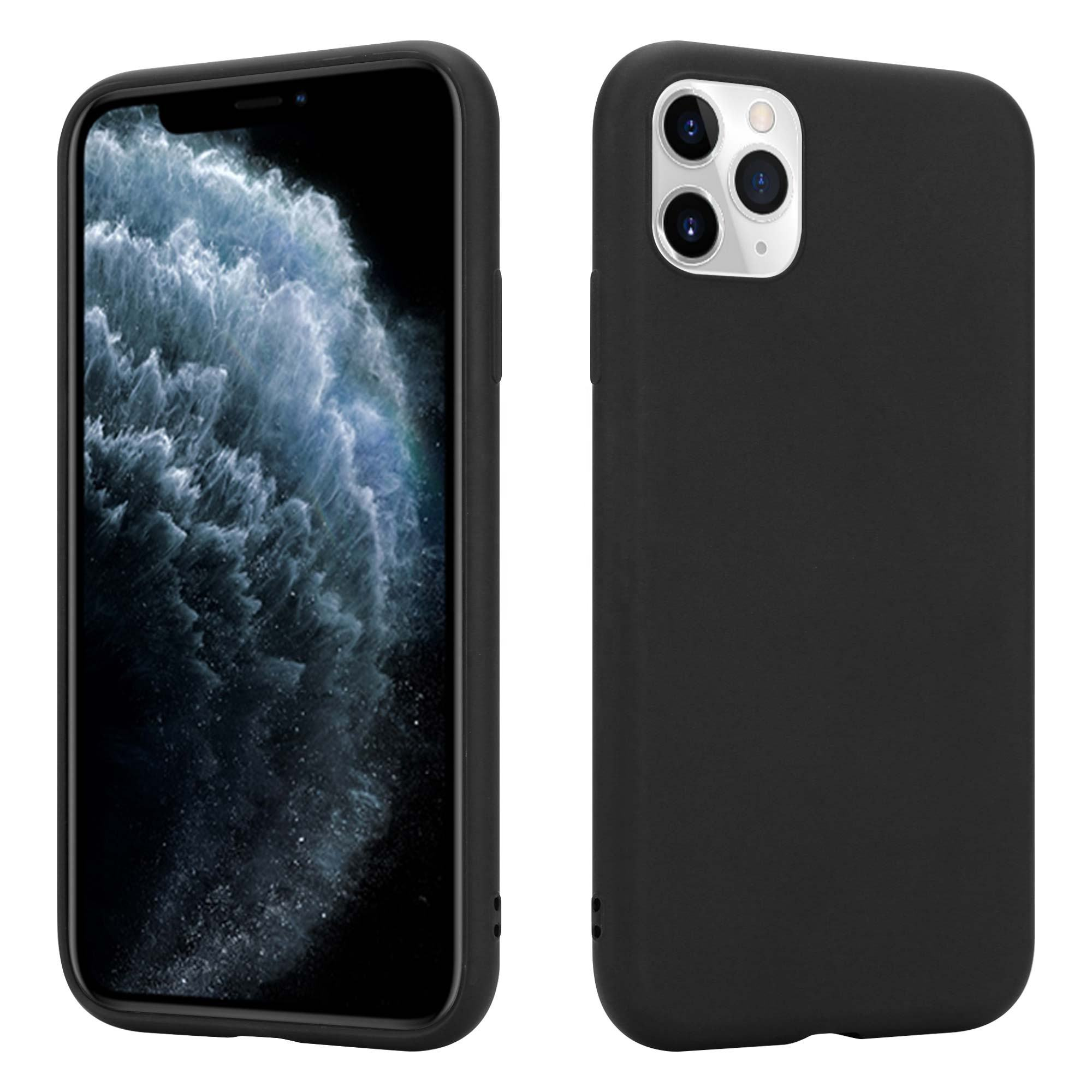 Plain Ultra Thin Fit Soft TPU Silicone Matte Black Back Cover Case for iPhone 11 Pro 2019