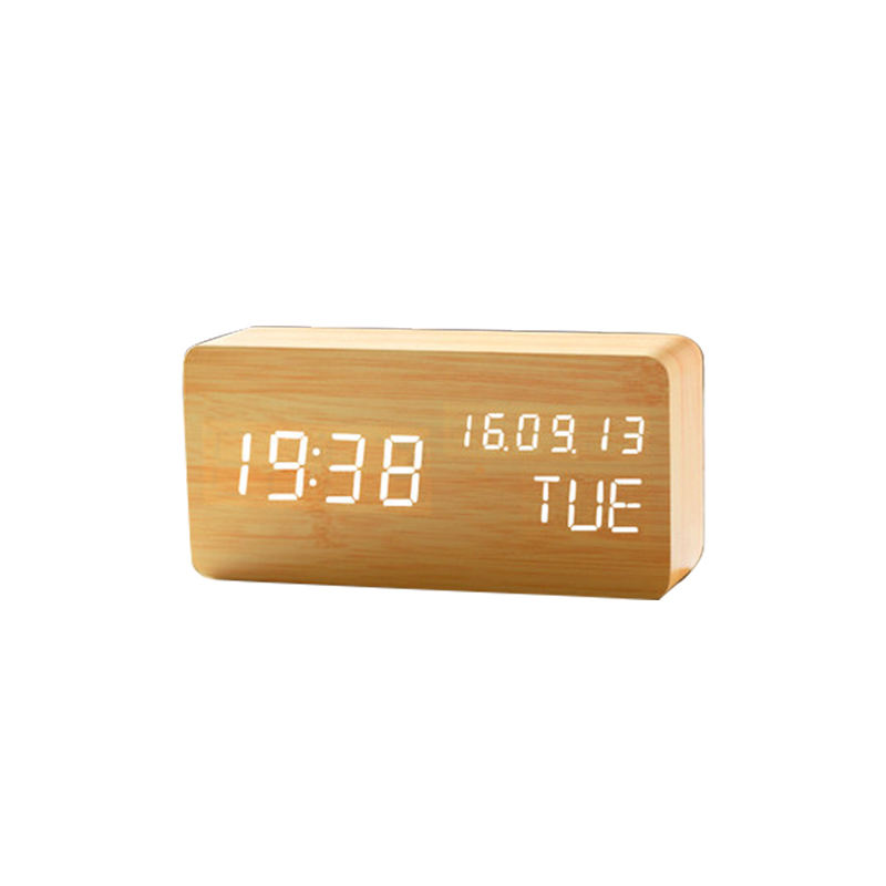 factory supply weather station wake up light led table digital alarm clock wooden alarm clock and fm alarm clock