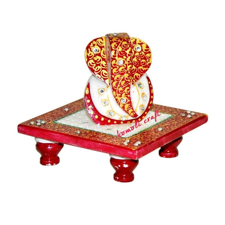 Carved marble stone statue of chowki wholesale ganesh gifts red orange green yellow