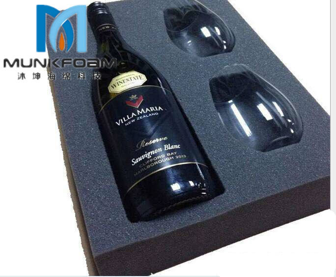 Custom velvet foam die cutting PU foam , red wine and other fragile products to protect foam