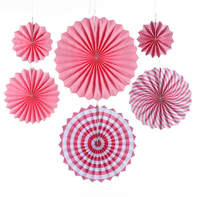 Christmas Gold Pink Blue Paper Fan 6pcs per set Birthday Party Decorations Ideal For Baby Shower kids' Birthday Party Decoration