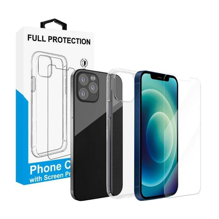 Phone case 2 in 1 tempered glass 2.5D screen protector for iphone 12 with tpu case soft cover