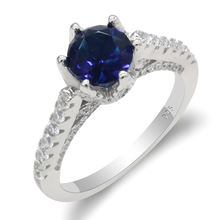 Wholesale 925 Sterling Silver Women Ring with Blue CZ Zircon Rings for Women Vintage Jewelry