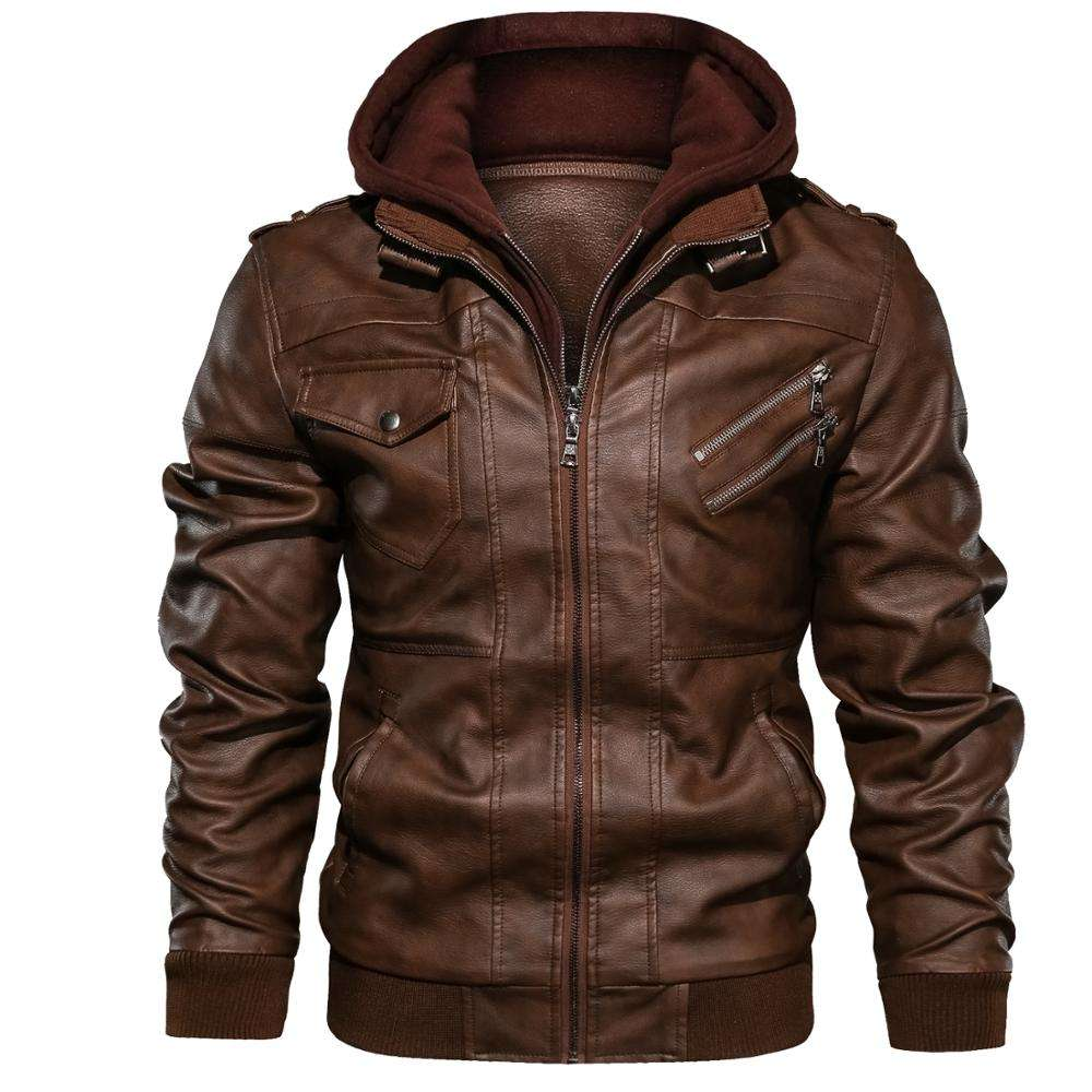 Latest Design plus size coat Mens Pu Leather Oem Men Long Sleeve Faux Leather Zipper Jacket leather jaket men winter parka