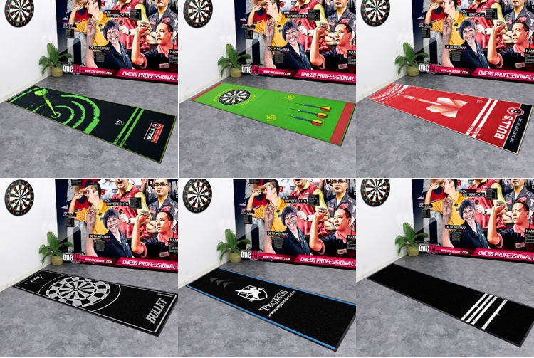 JACKSON CARPET Factory OEM Cheap Custom Logo Design Heavy Duty Durable Anti-Slip Rubber Backing Game Playing Dart Floor Mat