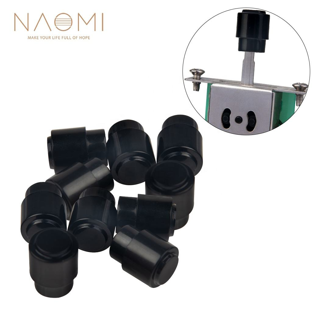 NAOMI 10pcs Guitar 3/5 Way Switch Tip Cap Switch Knob Fits USA Fender Strat/Tele/Stratocaster Black(Cylindrical)