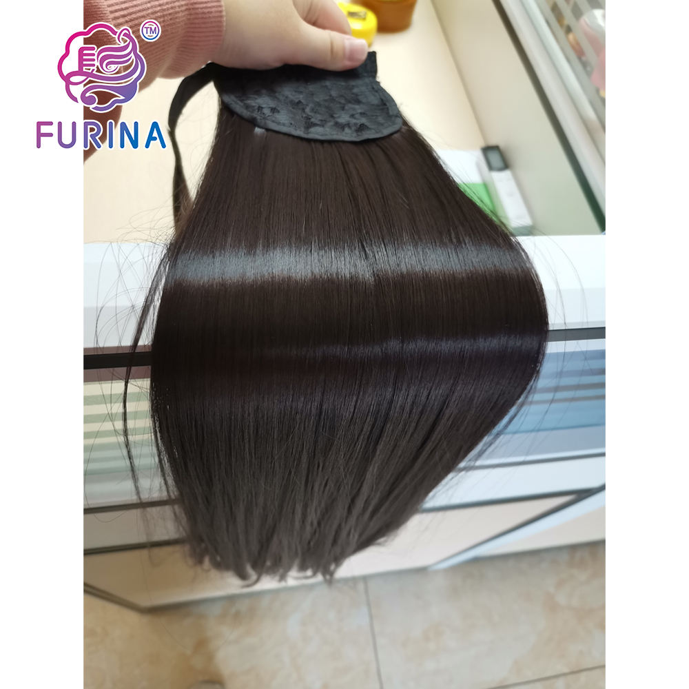 Synthetic Ponytails 28 Inch Japanese Fiber Long Straight Clip In Wrap Around Ponytail Extension