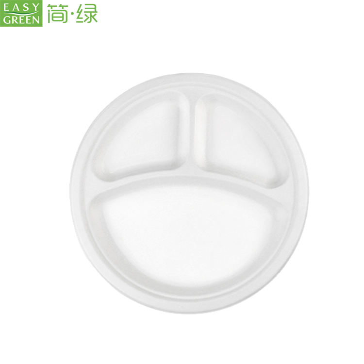 Graphic Customization [ Pulp ] Plastic Disposable Plate Easy Green Eco-Friendly Bagasse Pulp 9inch Round 3 Compartment Disposable Plates