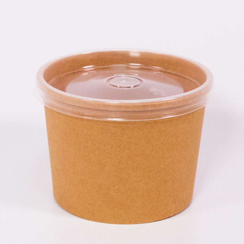 China Wholesales Custom Food Take Away Hot Soup Cup, 16oz 36oz 64oz 32oz Disposable Kraft Paper Hot Soup Bowl with Plastic Lids