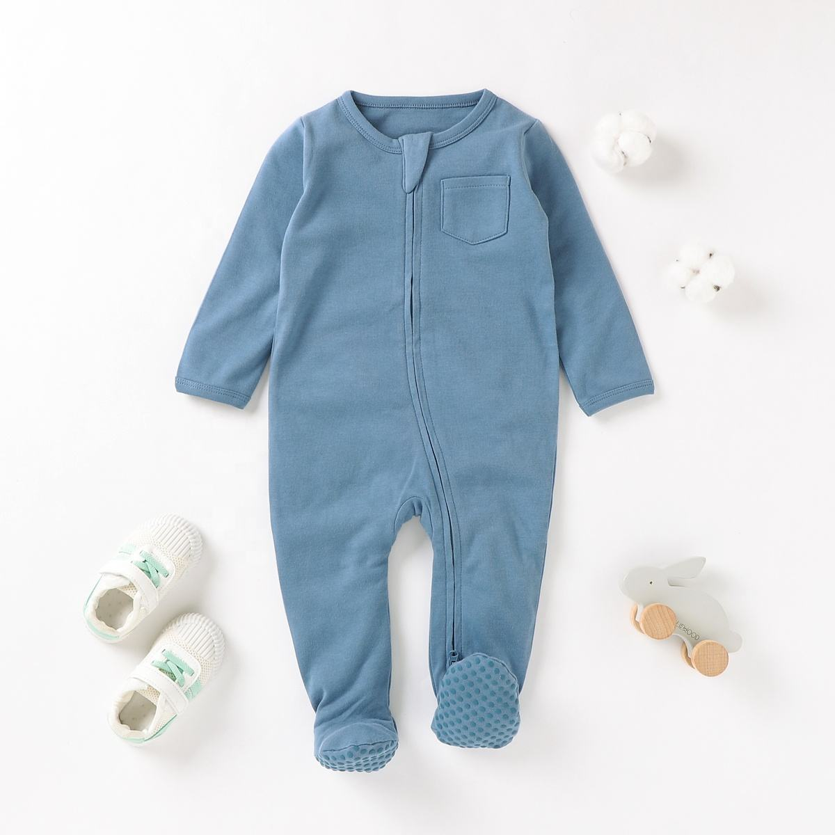 GOTS Certified 100% Organic Cotton Zipper Footie Baby Jumpsuit Romper