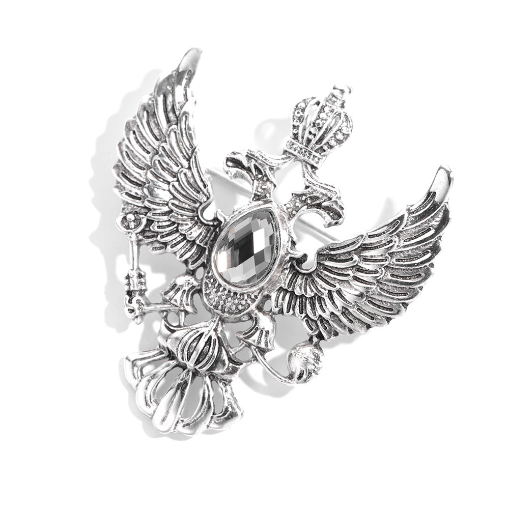 Fashion Jewelry Classic Retro Unique Eagle Crown Gifts Wholesale Charm Crystal Brooches For Mens Accessories