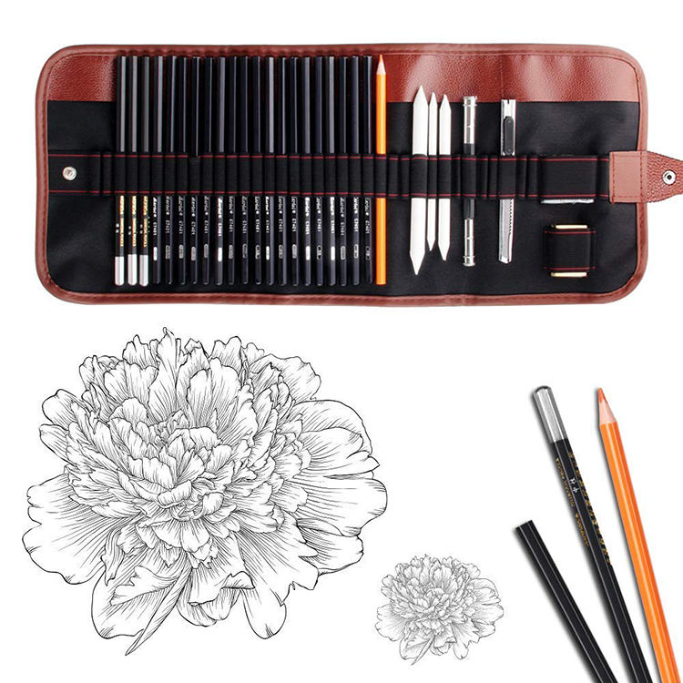 Professional 30 teile/satz Art Drawing Sketch Pencil Set With Roller Canvas Bag