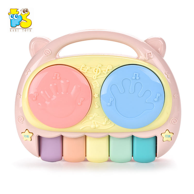 Kids educational musical clap toy electric mini plastic music hand drum 2 in 1 piano drum toys
