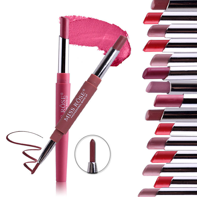 Mode 20 Farben Halb matt Doppel köpfiger Multifunktions-Matte Lipstick und Lip Liner Set Private Label