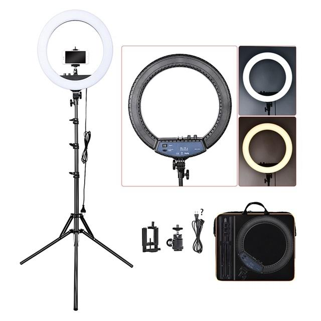 FOSOTO RL-18II 55W Photographic LED Makeup 18 inch ring light with tripod stand for tiktok youtube video studio