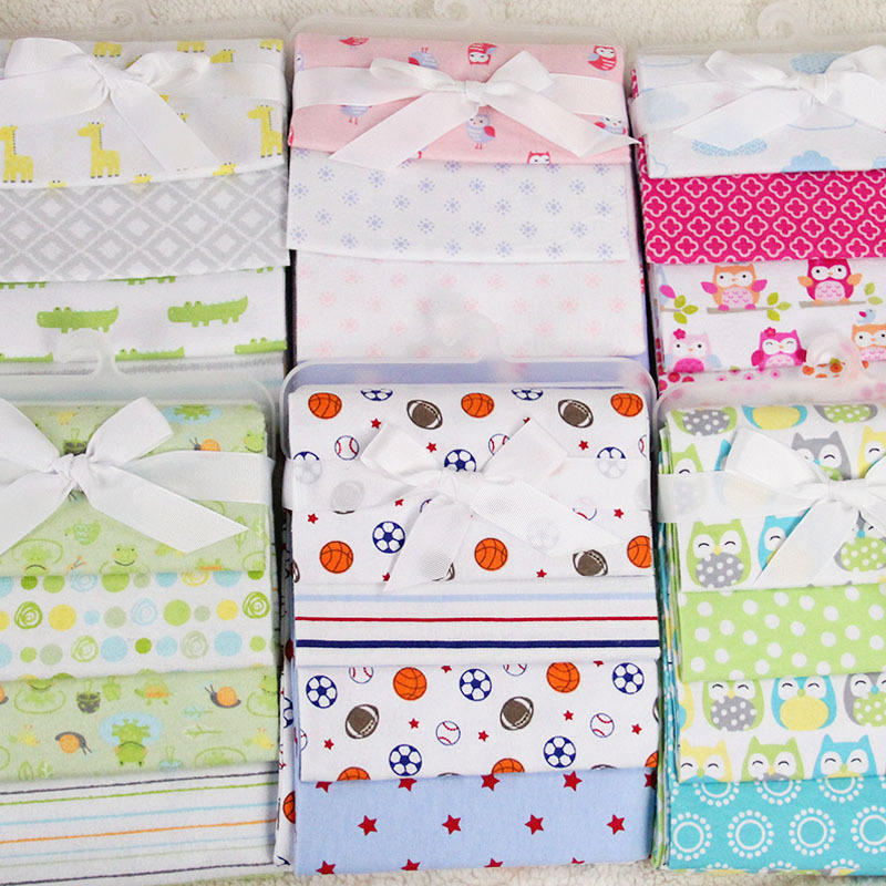 New design single layer 76x76cm baby soft blanket 4 pieces bag pack flannel printed blanket baby