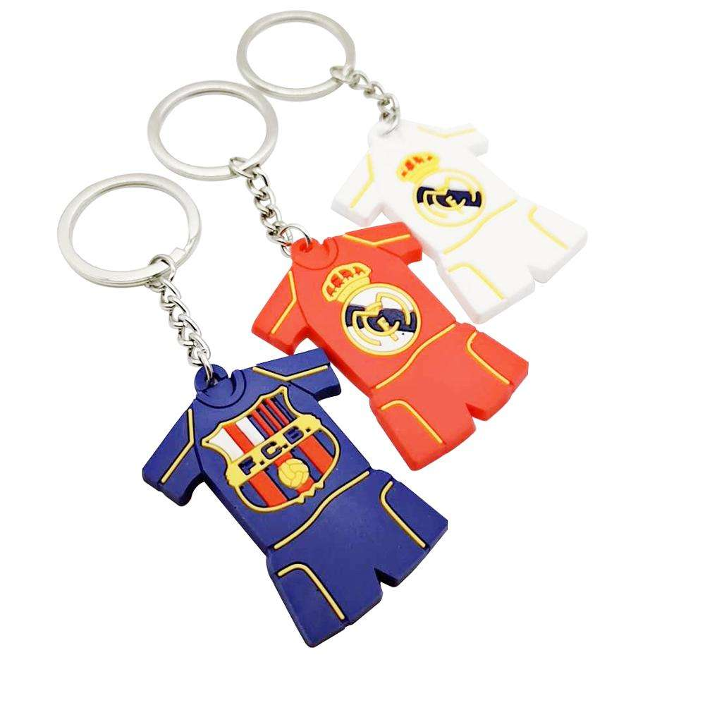 Customized OEM rubber PVC football t shirt keychains