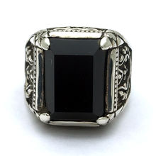 Vintage Ring Men Real Pure S925 Sterling silver obsidian with dragon crystals rings gifts for mens