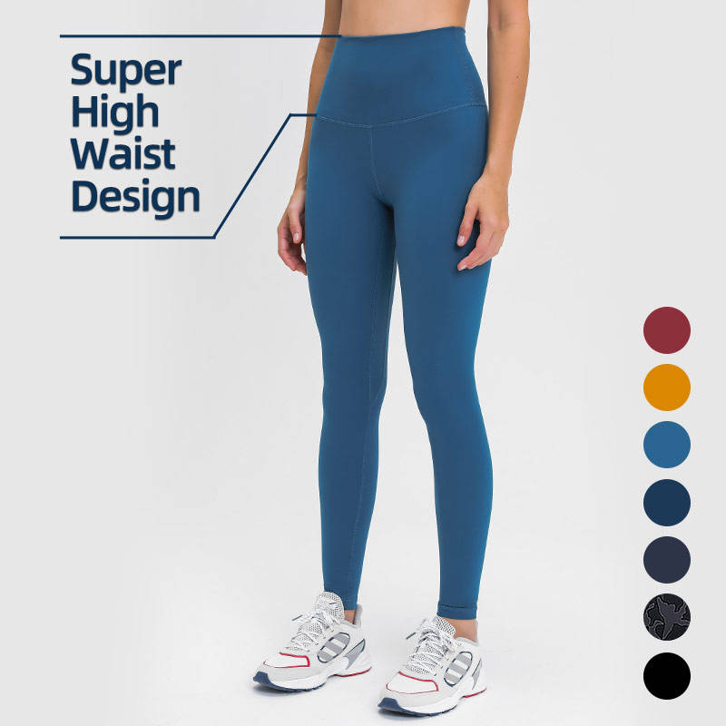 Newest 13cm Super High Waisted Nude Feel Full Length Pants Yoga Leggings With Pockets For Women Workout Fitness Gym Wear