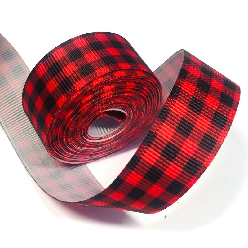 New Design 1 inch Customized Wholesale red buffalo ribbon