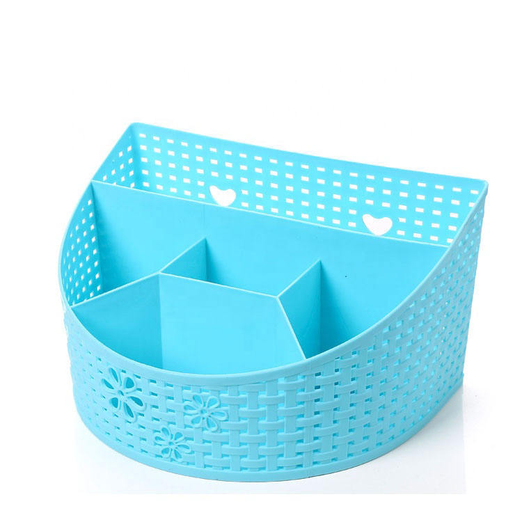 eco-friendly divided design cosmetic storage plastic basket