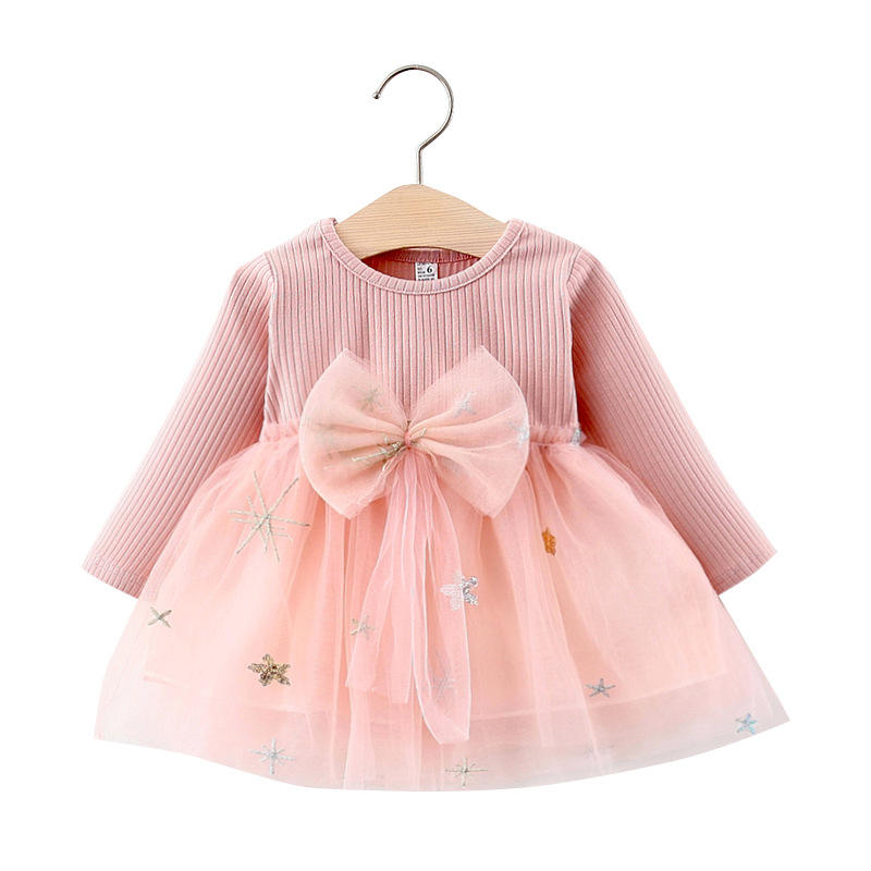 Bear Leader 2020 Autumn New Children Mesh Patchwork Princess Dress with Bowknot Baby Girls Solid Fashion Style Casual Dress