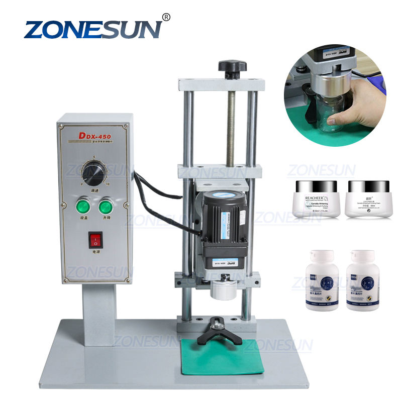 ZONESUN ZS-XG450 Pump Capping Machine Electrical Caps Perfume Collar Ring Tobacco Tar Bottle Desktop Cap Screwing Machine