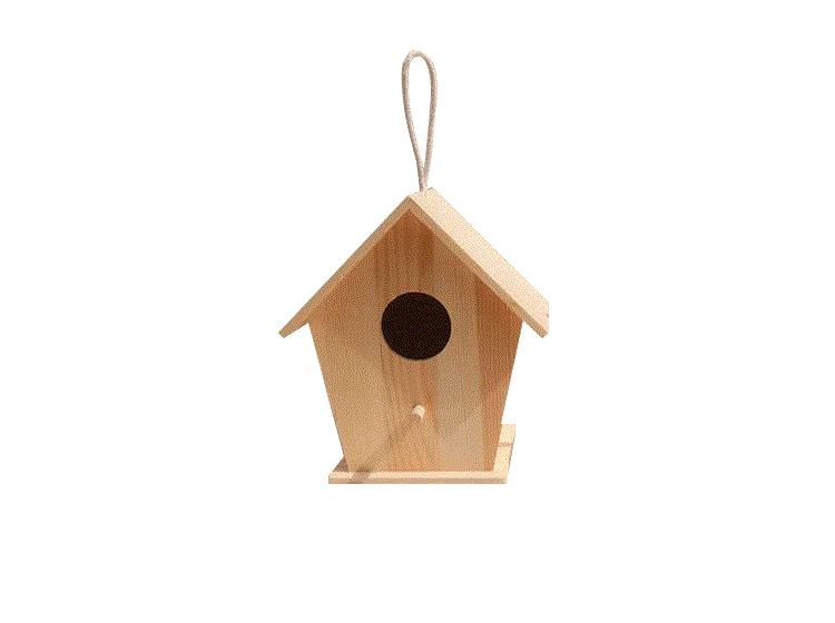 Outdoor patio balcony decoration Idyllic gardening bird nest Wooden pendant Manual material package DIY bird house