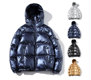 Shiny Nylon Puffer Jacket Mens Winter Gold Shiny Coat Man Plus Size