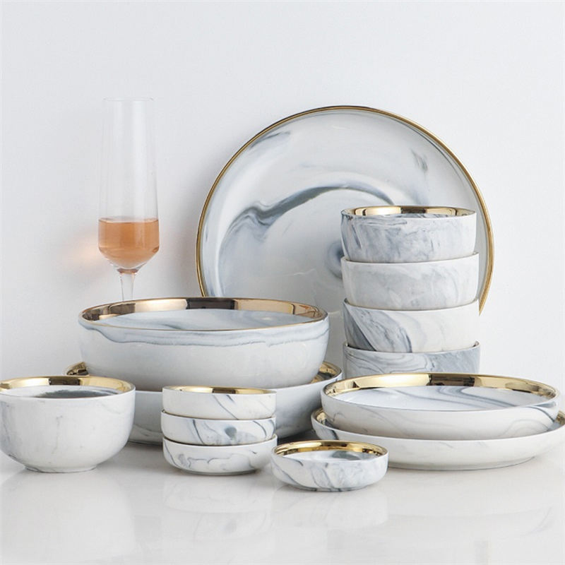 good price restaurant nodic christmas marble dinner set Wedding dinner plates golden pattern luxury ceramic tableware