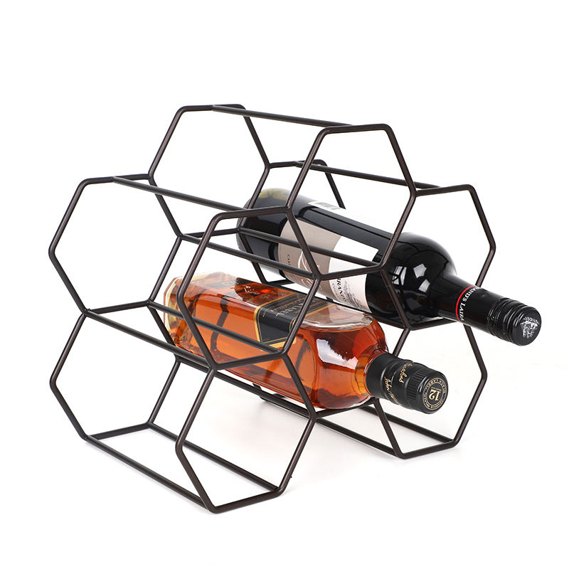 Nordic Style Tabletop Honeycomb 6 Bottles Metal Wine Rack